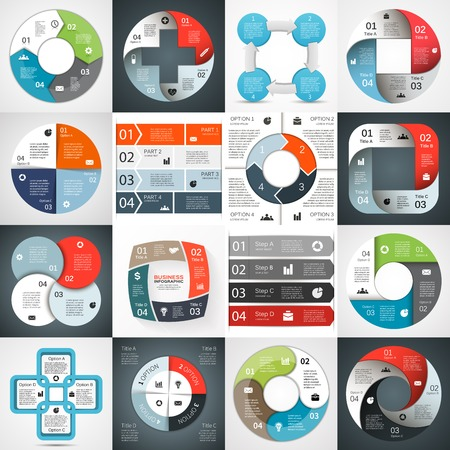 Illustrazione per Infographic, diagram, 4 options, parts, steps. - Immagini Royalty Free