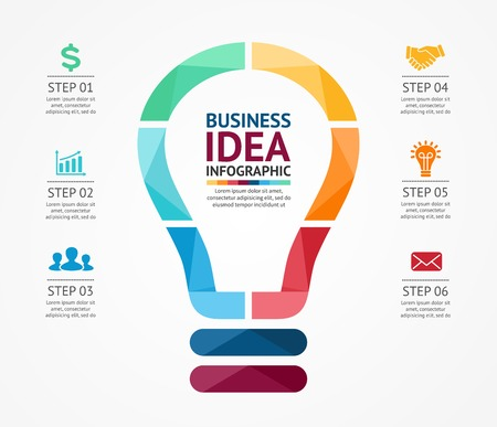 Ilustración de Vector idea infographic with light bulb. Template for creative diagram, graph, presentation and chart. Business concept with 6 options, parts, steps or processes of brainstorm and creativity. - Imagen libre de derechos