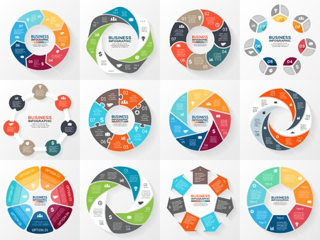 Ilustración de Vector circle arrows infographics set. Template for diagram, graph, presentation and chart. Business concept with 7 options, parts, steps or processes. Abstract background. - Imagen libre de derechos