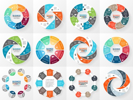 Illustration pour Vector circle arrows infographics set. Template for diagram, graph, presentation and chart. Business concept with 8 options, parts, steps or processes. Abstract background. - image libre de droit