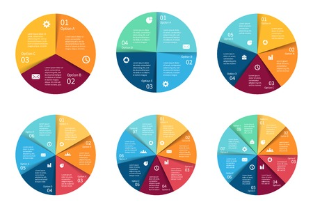 Ilustración de Vector circle infographics set. Template for cycle diagram, graph, presentation and round chart. Business concept with 3, 4, 5, 6, 7, 8 options, parts, steps or processes. Abstract background. - Imagen libre de derechos