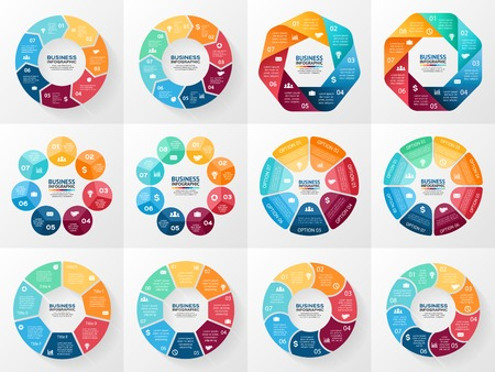 Ilustración de Vector infographics set. Collection of templates for cycle diagram, graph, presentation and round chart. Business concept with 7 and 8 options, parts, steps or processes. Abstract background. - Imagen libre de derechos