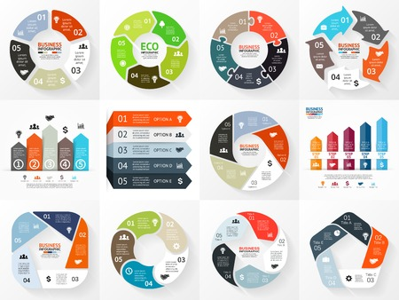 Ilustración de Vector circle arrows infographics set. Template for cycle diagram, graph, presentation and round chart. Business concept with 5 options, parts, steps or processes. Abstract background. - Imagen libre de derechos
