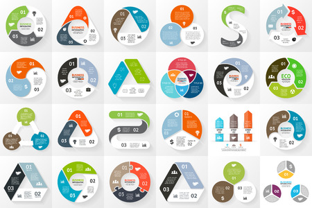Ilustración de Vector circle arrows infographics set. Template for cycle triangle diagram, graph, presentation and round chart. Business concept with 3 options, parts, steps or processes. - Imagen libre de derechos