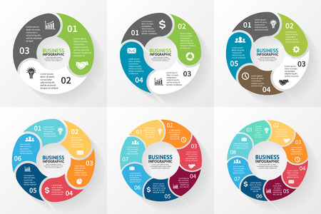 Illustration pour Vector circle infographic. Template for cycle diagram, graph, presentation and round chart. Business concept with 3, 4, 5, 6, 7, 8 options, parts, steps or processes. Abstract background. - image libre de droit