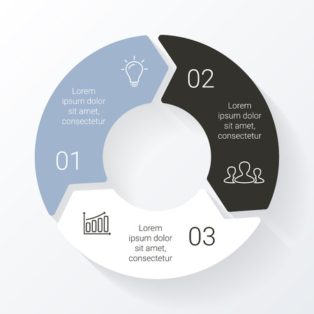 Ilustración de Vector line circle arrows infographic. Template for cycle diagram, graph, presentation and round chart. Business concept with 3 options, parts, steps or processes. Linear graphic. - Imagen libre de derechos