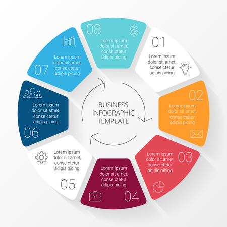 Illustration pour Vector circle lines infographic. Template for cycle diagram, graph, presentation and round chart. Business concept with 8 options, parts, steps or processes. Linear graphic. - image libre de droit
