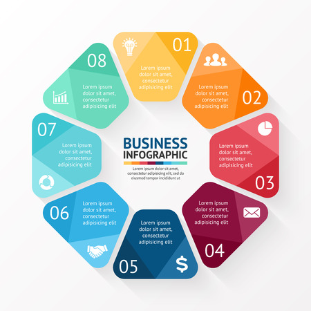 Illustration pour Vector circle infographic. Template for cycle diagram, graph, presentation and round chart. Business concept with 8 options, parts, steps or processes. Abstract background. - image libre de droit
