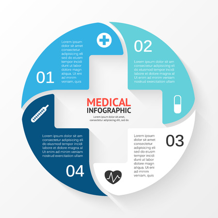 Illustration pour Vector circle plus sign infographic. Template for diagram, graph, presentation and chart. Medical healthcare concept with 4 options, parts, steps or processes. Abstract background. - image libre de droit