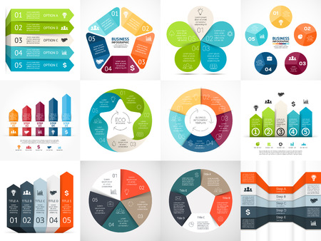Illustration pour Vector infographic templates set. Template for cycle diagram, graph, presentation and circle arrows chart. Business startup concept with 5 options, parts, steps or processes. Abstract background. - image libre de droit