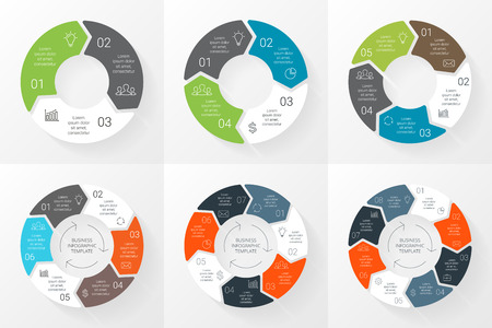 Illustration pour Vector circle arrows infographics set. Template for cycle diagram, graph, presentation and round chart. Business concept with 3, 4, 5, 6, 7, 8 options, parts, steps or processes. Linear graphic. - image libre de droit