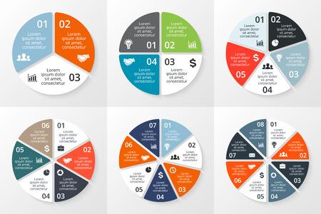 Ilustración de Vector circle infographics set. Template for cycle diagram, graph, presentation and round chart. Business concept with 3, 4, 5, 6, 7, 8 options, parts, steps or processes. Data visualization. - Imagen libre de derechos