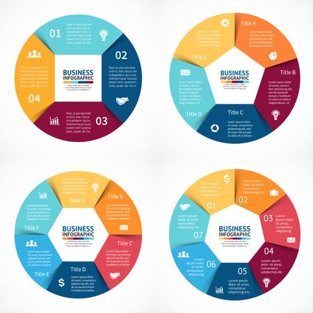 Ilustración de Vector circle infographics set. Template for cycle diagram, graph, presentation and round chart. Business concept with 3, 4, 5, 6  options, parts, steps or processes. Abstract background. Data visualization. - Imagen libre de derechos