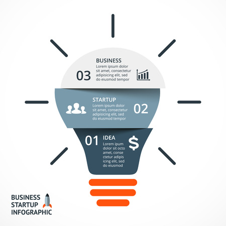 Illustration pour Vector light bulb infographic. Template for circle diagram, graph, presentation and round chart. Business startup idea concept with 3 options, parts, steps or processes. Successful brainstorming. - image libre de droit