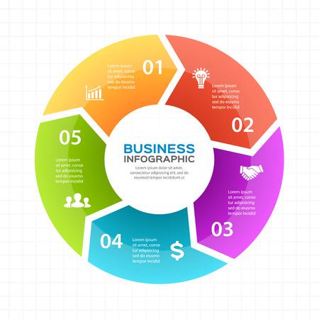 Ilustración de Circle arrows diagram for graph infographic presentation with 5 steps parts options. - Imagen libre de derechos