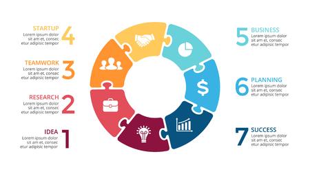 Illustration pour Vector circle arrows puzzle infographic, cycle diagram, jigsaw graph, presentation chart. Business concept with 7 options, parts, steps, processes. - image libre de droit