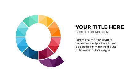 Ilustración de Vector alphabet infographic, presentation slide template. Business concept with letter Q and place for your text. - Imagen libre de derechos
