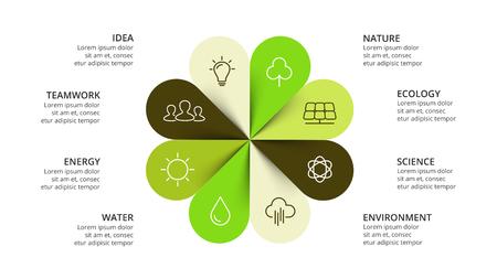 Ilustración de Vector circle arrows flower infographic, cycle nature diagram, eco graph, greenpresentation chart. Business concept with 8 options, parts, steps, processes. Slide ecology template. - Imagen libre de derechos