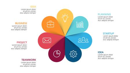 Ilustración de Vector circle arrows flower infographic, cycle diagram, graph, presentation chart. Business concept with 7 options, parts, steps, processes. Slide template. - Imagen libre de derechos