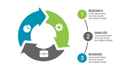 Ilustración de Vector circle arrows infographic, cycle diagram, geometric graph, presentation chart. Business concept with 3 options, parts, steps, processes. 16x9 slide template. - Imagen libre de derechos