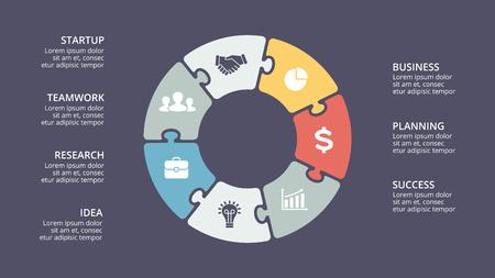 Ilustración de Vector circle puzzle infographic, cycle diagram, graph, presentation chart. Business concept with 7 options, parts, steps, processes. 16x9 dark slide template. - Imagen libre de derechos