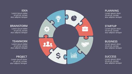 Ilustración de Vector circle arrows infographic, cycle diagram, graph, presentation chart. Business concept with 8 options, parts, steps, processes. - Imagen libre de derechos