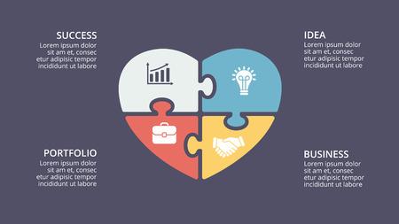 Ilustración de Vector puzzle heart love valentine infographic, cycle diagram, graph, presentation chart. Business concept with 4 options, parts, steps, processes. 16x9 dark slide template. - Imagen libre de derechos
