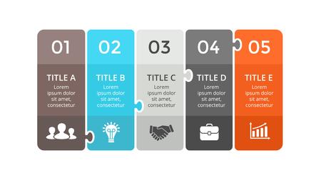 Ilustración de Vector puzzle labels infographic, diagram, graph, presentation chart. Business concept with 5 stickers options, parts, steps, processes. Abstract banners. - Imagen libre de derechos