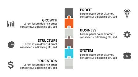 Ilustración de Vector puzzle timeline infographic, diagram chart, graph presentation. Business progress concept with 6 options, parts, steps, processes. - Imagen libre de derechos