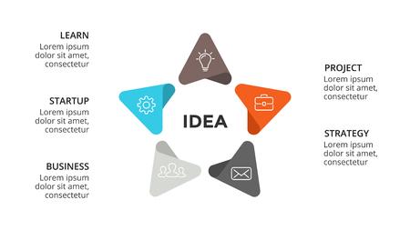 Ilustración de Business concept illustration with options, parts, steps, processes. - Imagen libre de derechos