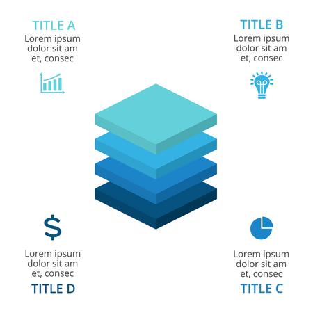 Illustration pour Vector squares layers 3d infographic, diagram chart, graph presentation. Business growth concept with 4 options, parts, steps, processes. - image libre de droit