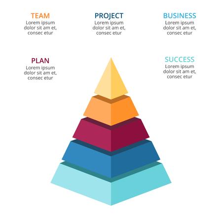 Ilustración de Vector 3d pyramid infographic, growth diagram chart, layered performance graph presentation. Business progress concept with 5 options, parts, steps, processes. - Imagen libre de derechos