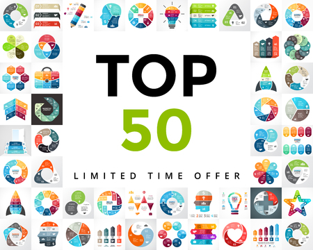 Photo for infographics set. TOP 50. Business diagrams, arrows graphs, startup presentations and idea charts. Medicine, education, marketing, startups. - Royalty Free Image