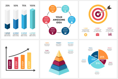 Ilustración de Marketing infographic, cycle diagram, global business graph, presentation chart. 3, 4, 5, 6 options, parts, steps, process. Target market, 3D pyramid, percentage columns. - Imagen libre de derechos