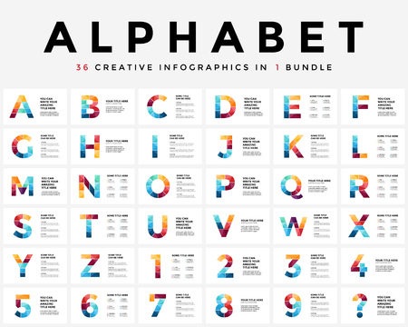 Ilustración de Vector alphabet infographic, presentation slide template. Business typographic concept with all numbers and letters. 16x9 aspect ratio. 36 infographics in 1 bundle. Latin type. - Imagen libre de derechos