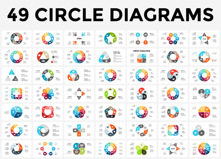 Illustration pour Vector circle arrows infographic, cycle diagram, graph, presentation chart. Business concept with 3, 4, 5, 6, 7, 8 options, parts, steps, processes. - image libre de droit