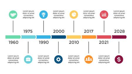 Ilustración de Vector arrows circles timeline infographic, diagram chart, graph presentation. Business progress concept with 8 options, parts, steps, processes. - Imagen libre de derechos