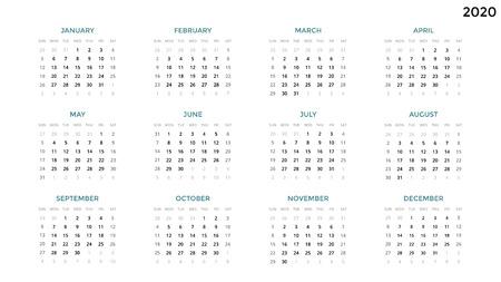 Foto de Calendar infographic, table chart, presentation chart. Business period concept. Task manager. Week, month. 2020 year. Time management. Organizer date diary. First day Sunday. - Imagen libre de derechos