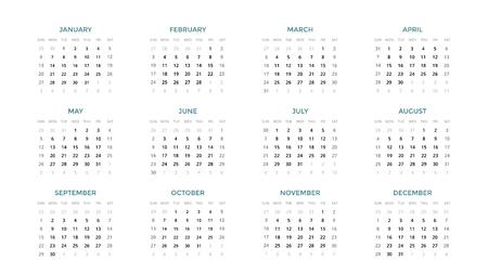 Foto de Calendar infographic, table chart, presentation chart. Business period concept. Task manager. Week, month. 2019 year. Time management. Organizer date diary. First day Sunday. - Imagen libre de derechos