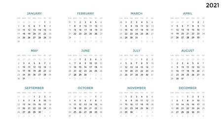 Foto de Calendar infographic, table chart, presentation chart. Business period concept. Task manager. Week, month. 2021 year. Time management. Organizer date diary. First day Sunday. - Imagen libre de derechos