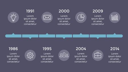 Ilustración de Vector metaball triangles timeline infographic, diagram chart, graph presentation. Business progress concept with 7 options, parts, steps, processes. Dark slide 16x9. - Imagen libre de derechos