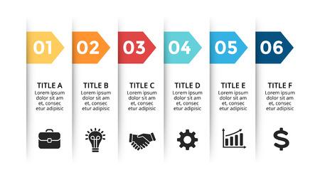 Ilustración de Vector paper arrows infographic, banners diagram, labels graph, stickers presentation chart. Business concept with 6 options, parts, steps, processes. Slide template. - Imagen libre de derechos