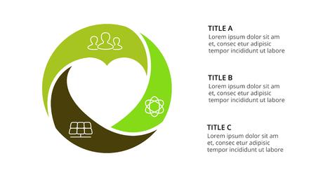 Ilustración de Circle arrows diagram for graph infographic presentation with steps parts options. - Imagen libre de derechos