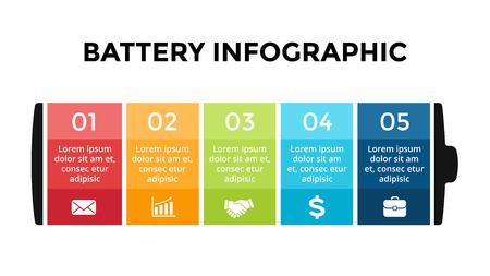 Foto de Vector battery infographic template. Presentation slide template. Business concept with 5 options, parts, steps, processes. - Imagen libre de derechos