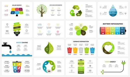 Foto de Vector infographic templates set. Ecology nature environment. Circle diagram. Presentation slide template. Eco care concept with 3, 4, 5, 6, 7, 8 options, parts, steps, processes. - Imagen libre de derechos