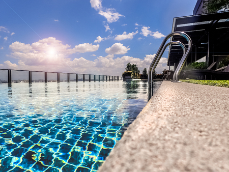 Photo for Resort terrace with rooftop pool - Royalty Free Image