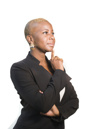 Photo pour corporate portrait of young happy and attractive black afro American woman with modern hair style posing cheerful and cool smiling on isolated background in entrepreneur business success concept - image libre de droit