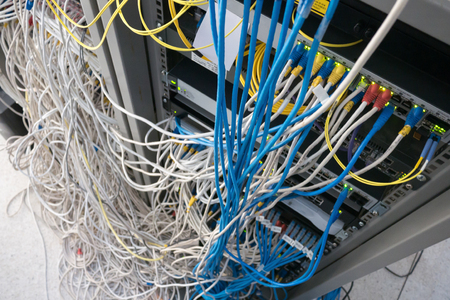 Foto für Fiber optical in rack cabinet - Lizenzfreies Bild