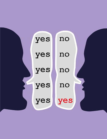 Illustration pour Two opposing heads repeating the words yes and no in speech bubbles until both say yes as a concept for the art of reaching agreement through negotiation - image libre de droit