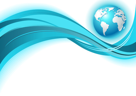 Business world map wave background. In blue color.